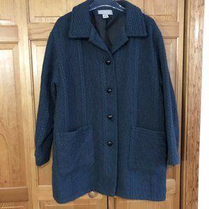 Women's Irish Aran Wool 1X Wool Coat Blue Gray